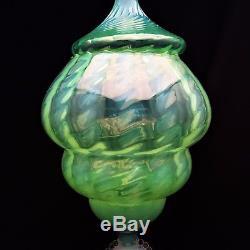 Venetian Italian Cameo Opalescent Swirl Green Glass Apothecary/Candy Jar