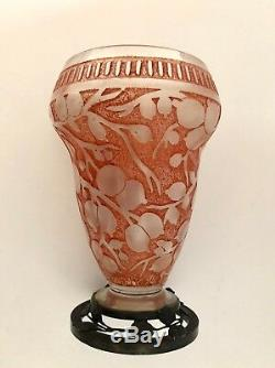 Verreries D'Art Lorraine Cameo Deco Metal Glass Vase Signed