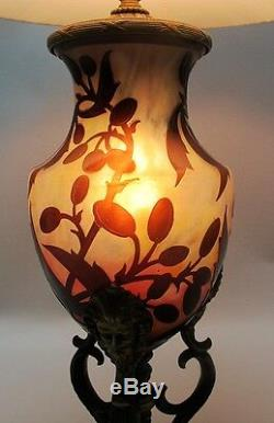 Very Rare DAUM NANCY French Cameo Glass Lamp with Griffin Mounts c. 1915 antique