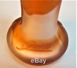 Very Rare SIGNED GALLE Miniature Art Nouveau Cameo Glass Vase c. 1905 antique