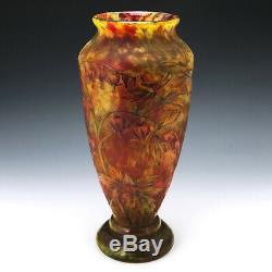 Very Tall Daum Marbled Cameo Vase c1900