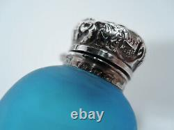 Victorian Perfume Bottle Vial English Blue Cameo Glass Sterling Silver
