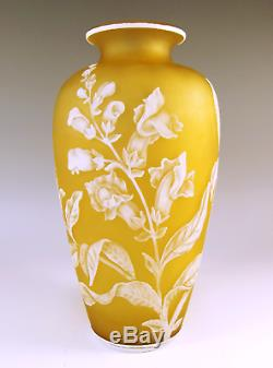 Victorian Stevens And Williams Cameo Glass Vase Foxglove And Beetle