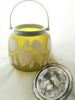 Victorian Thomas Webb cameo glass biscuit barrel