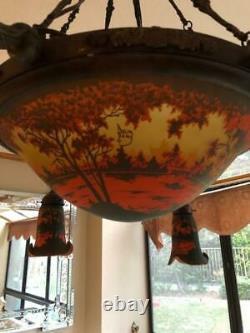 Vintage Acid Etched Cameo Glass Chandelier Daum Nancy Art Nouveau Style