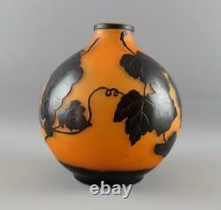 Vintage Acid Etched Cameo Glass Vase Lamp Base Fruiting Vine Signed unidentified
