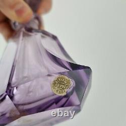 Vintage Art Deco Style Amethyst Glass Scent Bottle Cameo Top By Czecho Slovakia