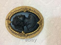 Vintage Art Nouveau Black Glass Onyx & Brass/Bronze Cameo Pin Brooch