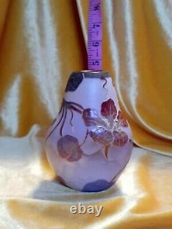 Vintage Art Nouveau Cameo Legras Glass Vase Signed