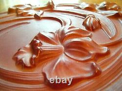 Vintage Art Nouveau Daffodils Lamp Shade Large Round Panel Frosted Cameo Glass