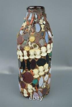 Vintage Black American Folk Art Memory Jug Amber Bottle Cameos Buttons 7.5