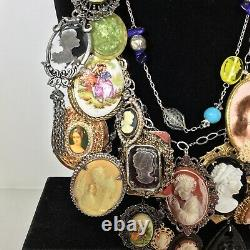 Vintage CAMEO Statement Charm Necklace Carved 925 Sterling Silver Wearable Art