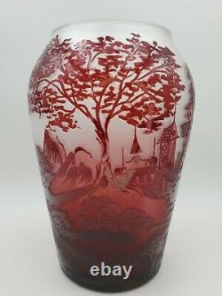 Vintage Cameo Art Glass Vase Handmade In Roumania Red