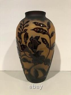 Vintage Cameo Glass Vase Art Nouveau Flowers Brown And Black Extremely Rare
