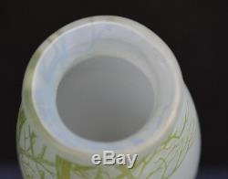 Vintage De Vez Cameo Art Glass Landscape Vase in Green and Blue