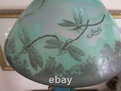 Vintage Emile Galle Reproduction Art Nouveau Cameo Table Lamp Dragonfly