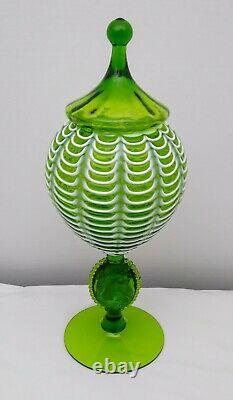 Vintage Empoli Glass Apothecary Jar with Jenny Lind Cameo Stem HTF Green withTOP