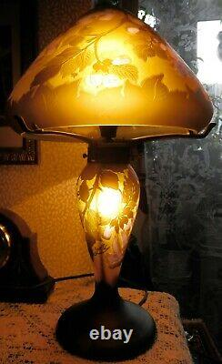 Vintage French Galle Tip Cameo Etched Flowers Glass Mushroom Table Lamp Working