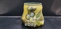 Vintage Galle Cameo Art Glass Vase, Signed, 3 5/8 Tall