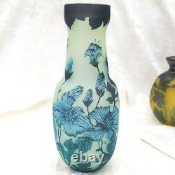 Vintage Galle French Cameo Art Glass Cabinet Vase Reproduction 9 Blue Floral