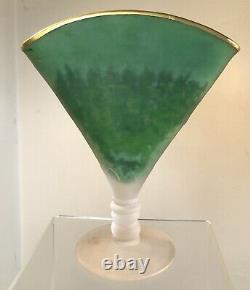 Vintage Glass Fan Vase Acid Cut Back Cameo Bird Signed Devilbiss Perfume