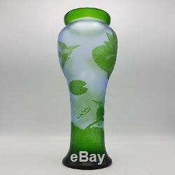 Vintage Green Cameo Glass Vase with Birds & Leaves Green & Frosted 13