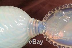 Vintage Italian Art Glass Empoli Cameo Vase Opal Vaseline 13