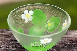 Vintage Kosta Boda Cameo Bowl With Trefoil Leaves Flowers Signed Paul Hoff