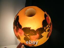 Vintage LAMP ACID Etched French Galle Style Cameo Art Glass Dome Shade Parlor