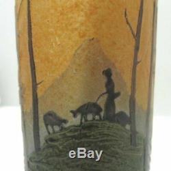 Vintage Legras Cameo Art Glass Cylinder Bud Vase Landscape Shepherd Scene Signed
