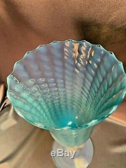 Vintage Murano Venetian Art Glass Cameo Blue Opalescent Pedestal Vase