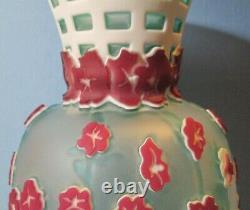 Vintage Pilgrim Cameo Glass Hand Blown LARGE 15 Art Glass Signed Kelsey Murphy