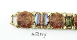 Vintage Signed FLORENZA Intaglio Cameo Art Glass Rhinestone Gold Tone Bracelet