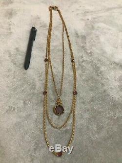 Vintage Signed Goldette Amethyst Art Glass Cameo Pendant Necklace