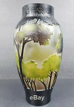 Vintage Studio Acid Cut or Cameo Style Art Glass Back Lit Forest Landscape Trees
