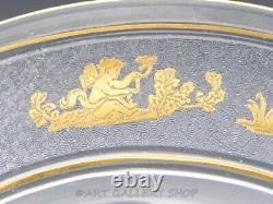 Vintage Val St. Lambert DANSE DE FLORE GOLD CAMEO 8.5 PLATES Set of 12