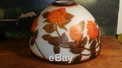 Vintage repro GALLE CAMEO ART GLASS DOME LAMP SHADE art nouveau style light rose