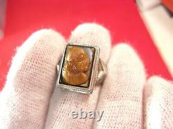 Vtg Antique Sterling Silver Art Deco Ring, Molten Glass Faux Tiger's Eye Cameo