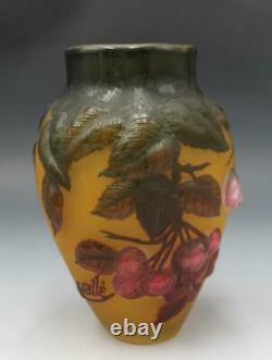 Vtg Cameo Art Glass Tip Galle Style Cabinet Vase with Cherry Fruit Art Nouveau