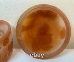 Vtg Emile Galle French Cameo Etched Glass Signed Covered Powder Jar Trinket Box