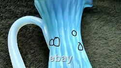 Vtg Empoli or Nailsea Style Art Glass Blue & White Cameo Stem Ewer & Decanter