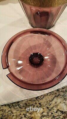 Walther Amethyst Glass Hellas Cameo Band Frieze Bowl & Lid Chariot 10 gold Big