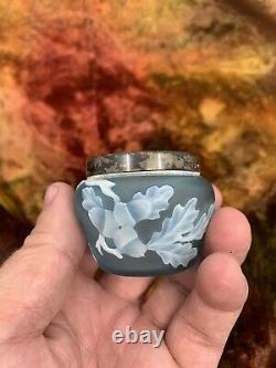 Webb Cameo Glass Open Salt Sterling Rim
