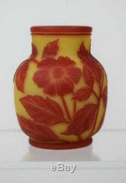 Webb English Cameo 2 Color Art Glass Vase with Butterfly