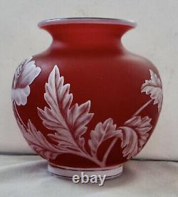 Webb English Cameo Glass Vase Signed 4 1/2