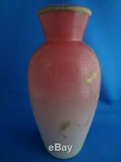 Webb Pink Cased Peachblow Cameo Cut 8 Vase, Gold Prunus Blossom Decor