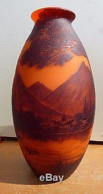 XXL Loetz Richard Cameo Art Glass Vase 36,5 CM Landscape Etched Art Nouveau