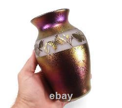 Zellique California Art Glass Cameo Vase Butterflies Iridescent Phyllis Polito